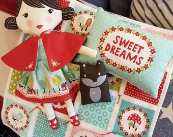 IN STOCK!  Lil Red Doll Fabric Panel by Moda 100% Cotton