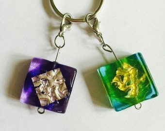 Quirky glass bead stitch markers for crochet/knitting x2