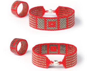 Red and Silver Peyote statement jewelry set, Geometric Peyote bracelet band ring set, Handwoven peyote bracelet and band ring