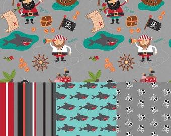 Blackbeard's Pirates in Gray - 4 Fabric Bundle