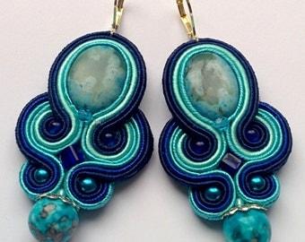 Soutache Earrings Turquoise - Navy Blue