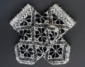 Gray Black Hand Knitted Mittens from Kid Mohair Very Warm Mittens Soft Mohair Mittens Warm Winter Mohair Gloves Knit Gloves Latvian Mittens