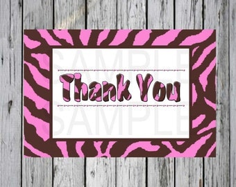 Baby shower Thank You Card  Pink and Brown Zebra