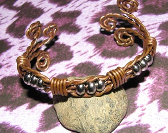 B15 - Womens Twisted and Wrapped Copper Bracelet with Silver Tone Beads and Swirly Ends