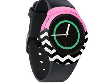 Skin Decal Wrap for Samsung Gear S2, S2 3G, Live, Neo S Smart Watch, Galaxy Gear Fit cover sticker Pink Chevron