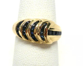 sapphire 14kt estate fine jewelry solid yellow gold vintage a size 4 1/2 sizable deep cornflower blue genuine sapphires solid 3.6 Grams gold