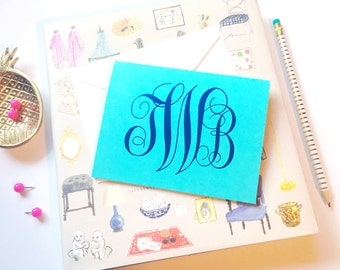 Foil stamped folded notecards, monogrammed stationery set, script monogram, notecard set, personalized stationery, folded thank you notes