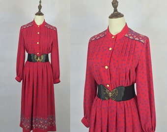 Japanese Vintage 1970s Lipstick Red Floral Dress / Party Dress / Day Dress / Made in Japan / Small Dress