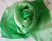 Green Silk Scarf Hand Woven Silk Accessories Wedding Shawl Pure Raw Thai Silk Hand Dyed Bridesmaid Gift For Her Handmade Accessories
