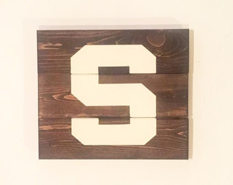 "Michigan State ""S"" Sign - Wood Wall Art"
