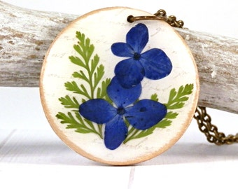 real flower necklace - real flower pendant - real flower jewelry - rustic flower - terrarium necklace - blue flower - real hydrangea - fern