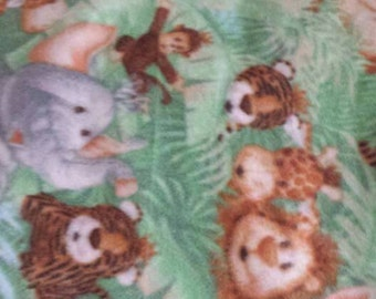 Safari jungle animals fleece tie blanket 36 X 58