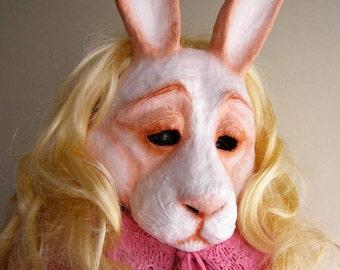 Masquerade mask Rabbit mask Hare mask Animal mask Paper mache mask Rabbit head Rabbit costume Halloween mask