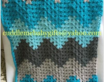 Baby Shower handmade Baby Keepsake Crochet Chevron Baby Blanket  Baby Shower Gift