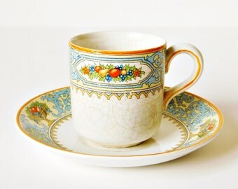 Myott Cup and Saucer, Made in England, Myott Son & Co, Espresso Cup, Red Orange and Blue Enamel Fruit Design, Antique Teacup