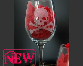 Skull Crossbones Poison Hand Engraved Set of 2 Wine Glasses  Jolly Roger, Wedding Gift, Custom, Dark Decor,  Gothic Gift