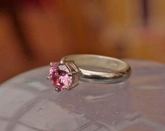 Very Pretty Silver 925 Pink Zirconia Art Ring Size O+ (7)