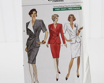 Easy Business Suit Jacket and Skirt Pattern, Uncut Sewing Pattern, Vogue 7720, Size 8-12