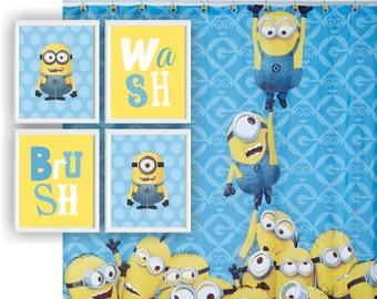 minions bathroom wall art set of 4 8x10 wash brush digital art print
