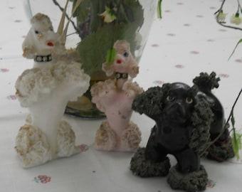 Three  1950s vintage poodles figurines