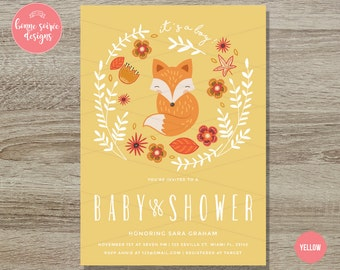 Fox Baby Shower Invitation Printable// 5x7 Boy or Girl Floral Whimsical Fox Invite - Baby Fox - Spring Baby Shower Invitation woodland fox