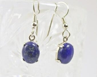Lapis Lazuli, Dangle Earrings, Sterling Silver, Drop Earrings, Gemstone Earrings, Silver Earrings, Blue Earrings, Lapis Earrings