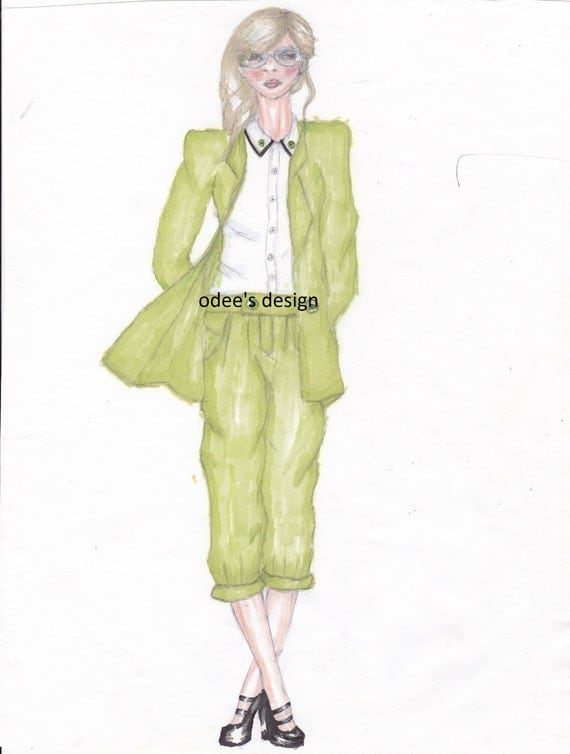 fashion illustration with markers by odefashionsketchs on etsy