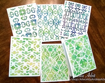 Green Patterns - Pack of Six Blank A2 Notecards - Watercolor Art Prints