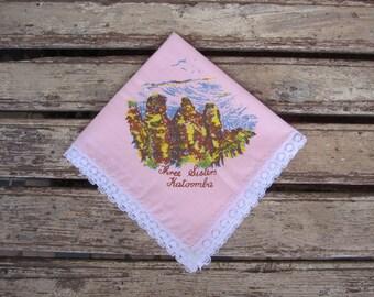Vintage Pink Ladies Handkerchief - Three Sisters Katoomba Souvenir - 1960's