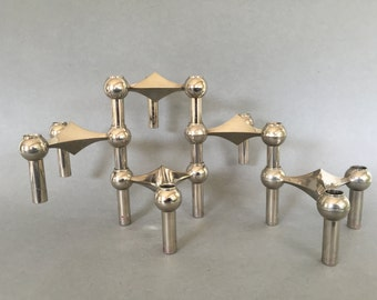 BMF stackable Quist Variomaster, Spage Age,  Atomic Brutalist 5 x candleholder 1960s  Germany.   By Ceasar Stoffi and Fritz Nagel.