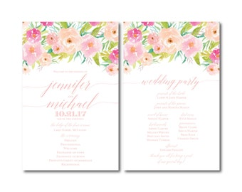 PRINTABLE Wedding Program, Floral Ceremony Program, Order of Service Program, Wedding Party Program, Ceremony Order of Service #CL131