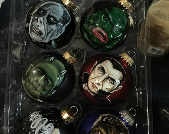 Monster Ornaments Vinetage frankestein, bride, wolfman, dracula, creature, phantom hand painted