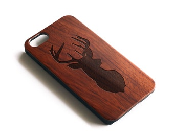 iPhone 7 Case Wood, iPhone X Case,  Deer iPhone Case, Deer Head, Hipster, iPhone 6 Case Wood, iPhone 8 Plus Case, Rosewood