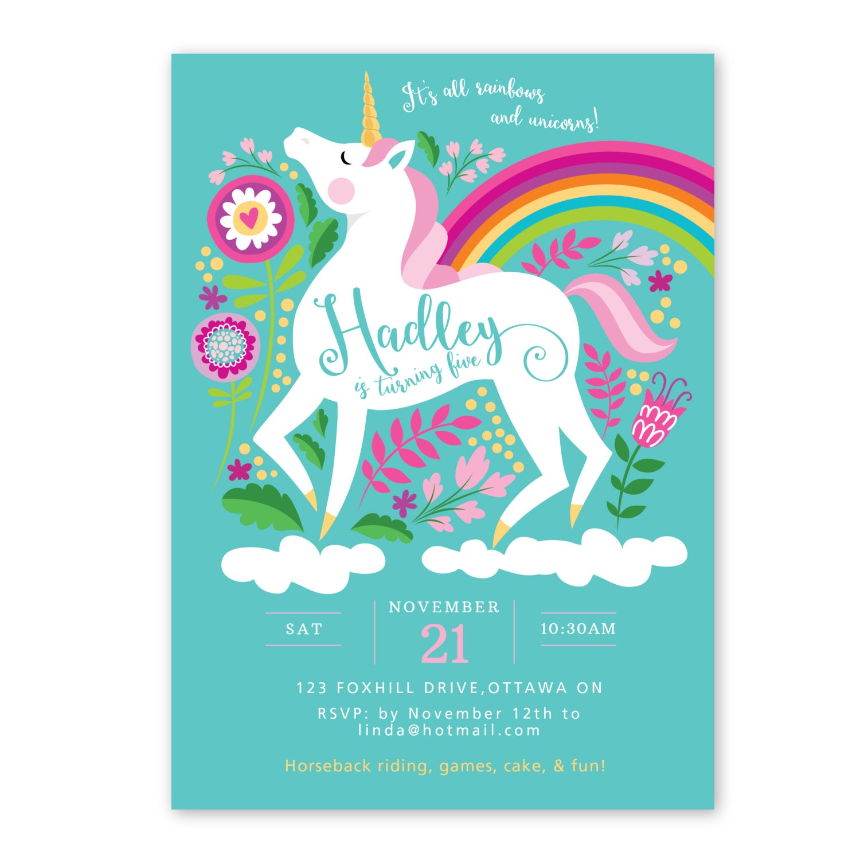 Unicorn Birthday Invitation, Printable, Customized, DIY ...