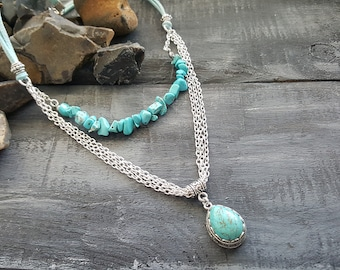 Turquoise necklace. Layered necklace. Blue necklace. Beaded necklace. Gemstone necklace. Chain necklace. Boho necklace. Tribal  necklace.