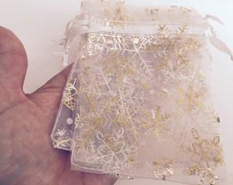10 Christmas Snowflake Organza Bags 12 x 9cm - CB020