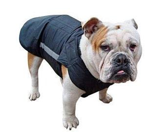 Bulldog Winter Dog Coat with underbelly protection - Gray Dog Jacket - Custom Made Dog Raincoat - Waterproof / Fleece Dog Clothes