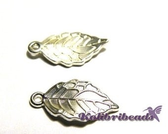 2x Leaf Charm 20mm - Silver plated