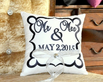 Ring Bearer Pillow 30% OFF  Mr & Mrs.Wedding Ring Pillow Embroidered Monogram Custom Personalize Ring Bearer Pillow All Colors