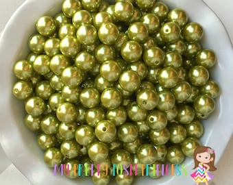 16mm Dark Lime Green A35 Chunky Bubble Gum Bead Faux Pearls *Choose How Many