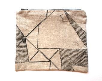 Hand block printed zip bag
