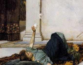 John William Waterhouse: Dolce Far Niente. Fine Art Print/Poster. (003467)