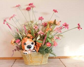Pink Puppy Love Spring Basket Floral Arrangement Pam's DeZines Pink Puppy Spring Floral Arrangement Item(279)