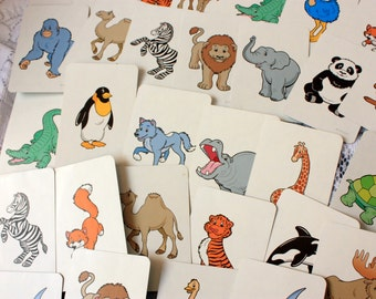 Set of 30 Animal  Cards - Animal Game Cards to use for collage, scrapbooks, note pads, games etc
