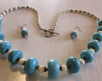Turquoise Sterling Silver and Bone Bead Necklace and Earrings