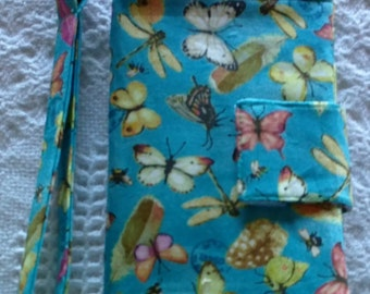 "Wristlet Wallet/Clutch/Tote/Bag/Purse/Pouch, Passport, Wristlet Wallet 6"" x 8"" Butterflys"