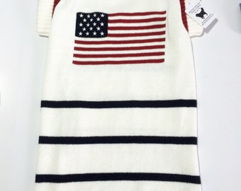 Dog SWEATER XXL Upcycled With American Flag