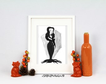 Pin Up Morticia Original Pen and Ink Illustration