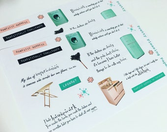 Domestic Goddess Sticker Sheet for Planners and Scrapbooks