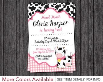 Cow Birthday Invitation - Barnyard Birthday Invitations